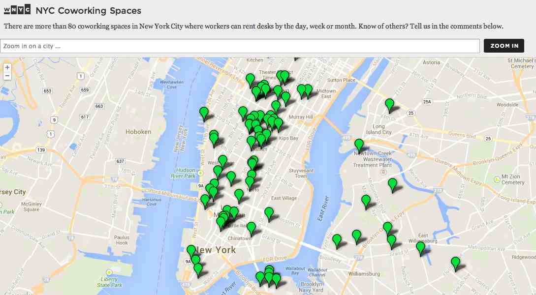 Coworking MAp NYC